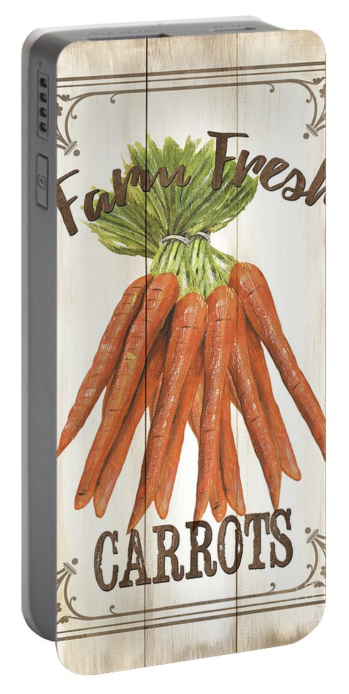 Carrots Portable Battery Charger featuring the painting Vintage Fresh Vegetables 3 by Debbie DeWitt