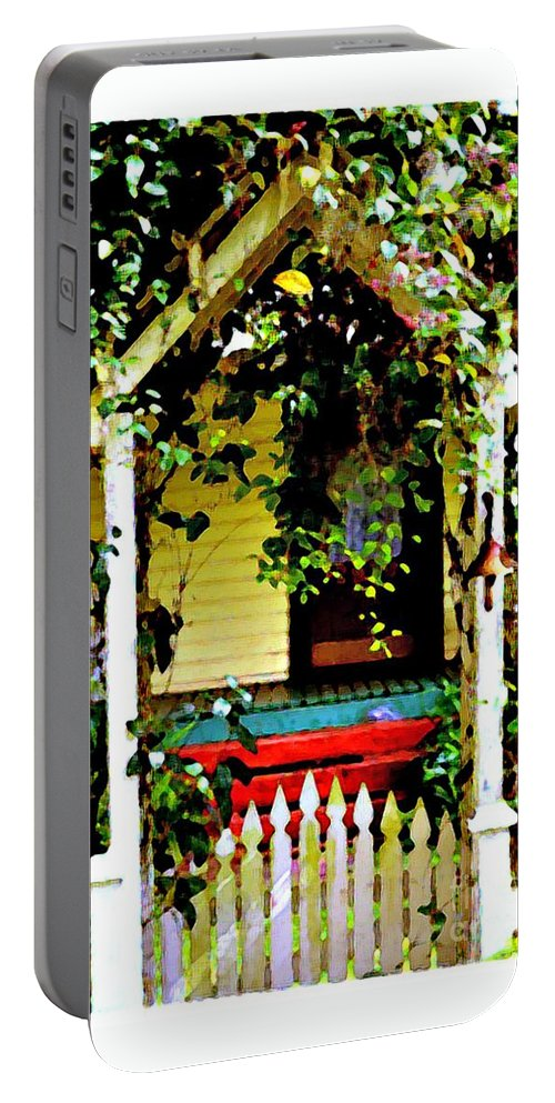 Vintage Portable Battery Charger featuring the photograph Vintage Garden Arbor Gate by Diann Fisher