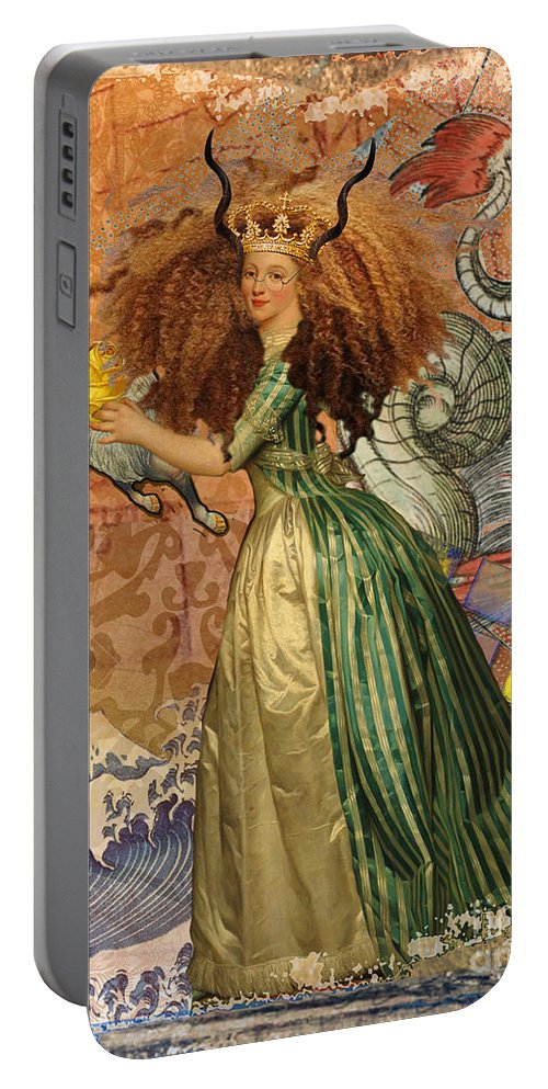 Doodlefly Portable Battery Charger featuring the digital art Vintage Golden Woman Capricorn Gothic Whimsical Collage by Mary Hubley