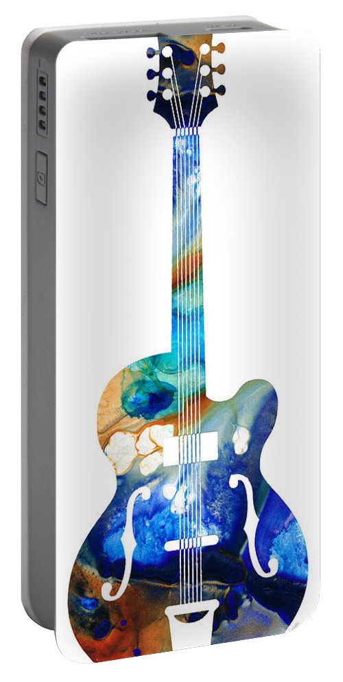 Guitar Portable Battery Charger featuring the painting Vintage Guitar - Colorful Abstract Musical Instrument by Sharon Cummings