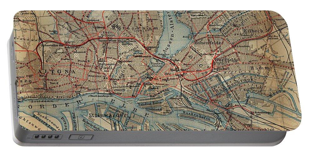 Hamburg Portable Battery Charger featuring the drawing Vintage Hamburg Railway Map - 1910 by CartographyAssociates