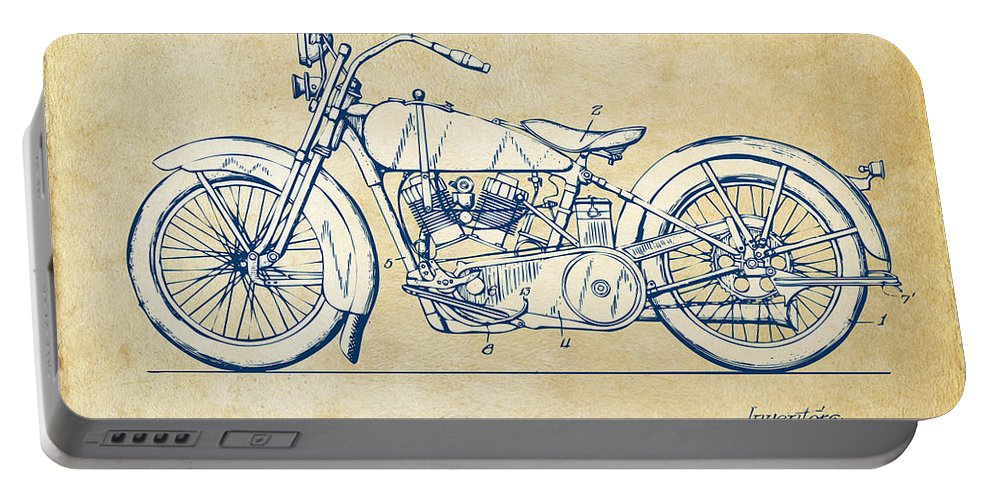 3bab9223 Harley-davidson Portable Battery Charger featuring the digital art Vintage  Harley-davidson Motorcycle 1928
