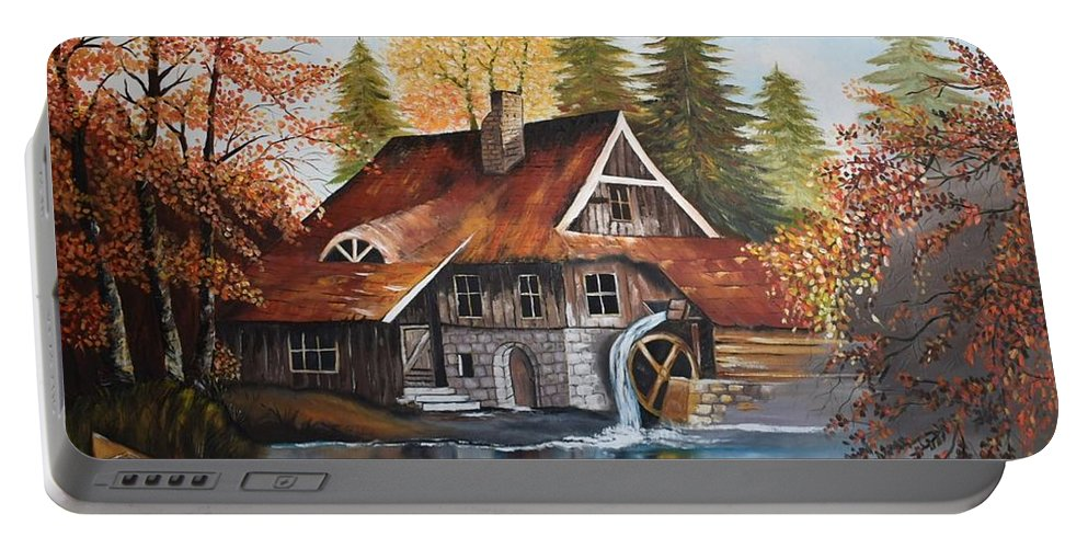 Landscape Portable Battery Charger featuring the painting Vintage House by Fadia Raffoul