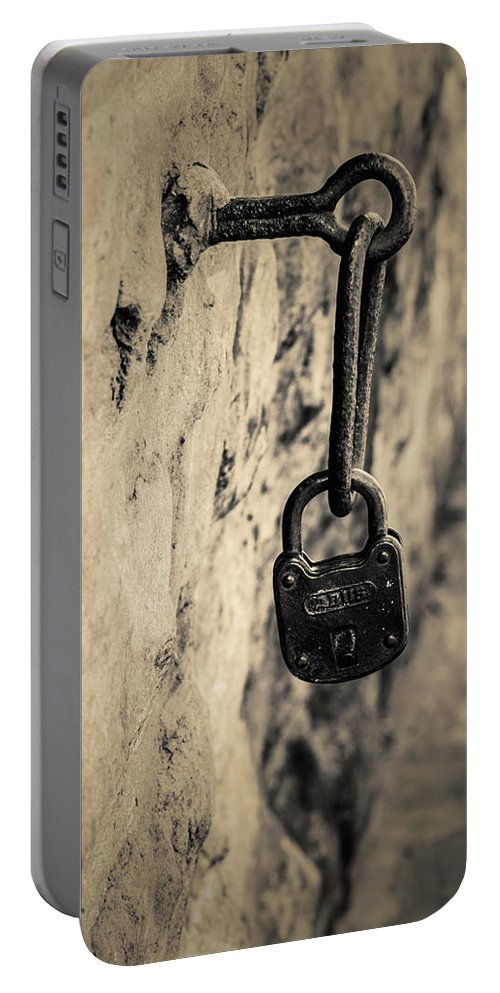 Peak Destrik 2 Vintage Lock Olld Portable Battery Charger featuring the digital art Vintage Lock by Adam Nicolaou