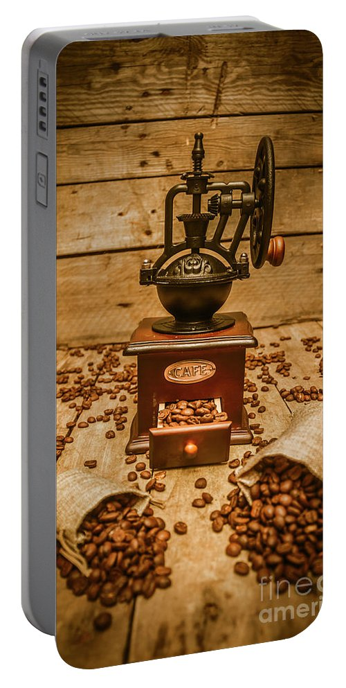 Coffee Portable Battery Charger featuring the photograph Vintage Manual Grinder And Coffee Beans by Jorgo Photography - Wall Art Gallery