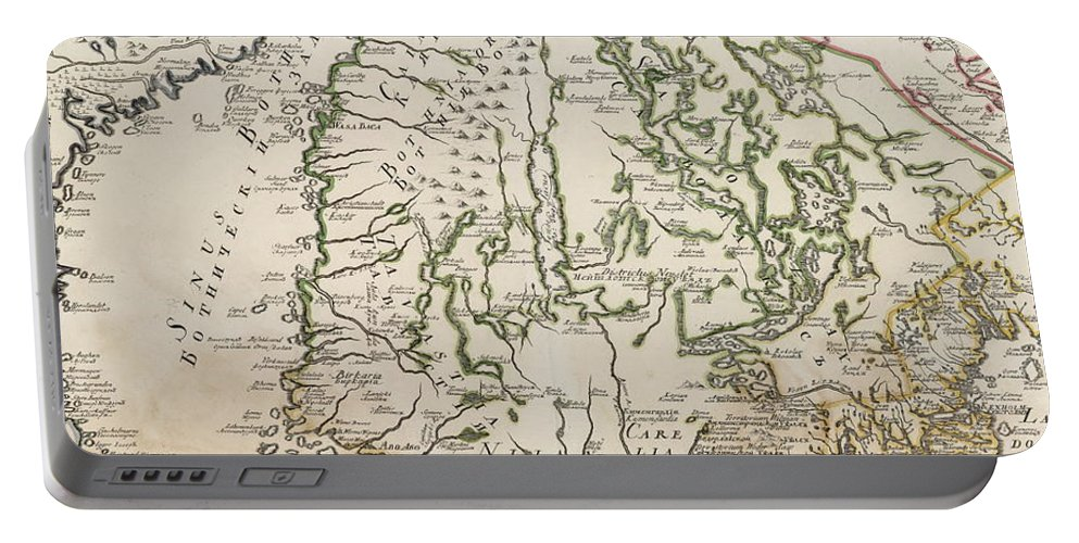 Finland Portable Battery Charger featuring the drawing Vintage Map Of Finland - 1740s by CartographyAssociates