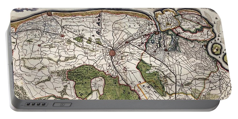 Flanders Portable Battery Charger featuring the drawing Vintage Map Of Flanders Belgium - 17th Century by CartographyAssociates