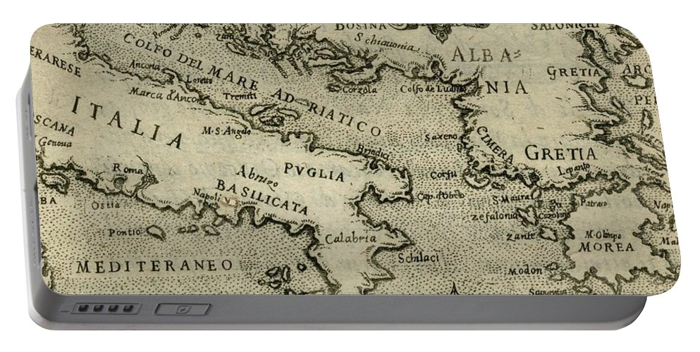 Italy Portable Battery Charger featuring the drawing Vintage Map Of Italy And Greece - 1587 by CartographyAssociates