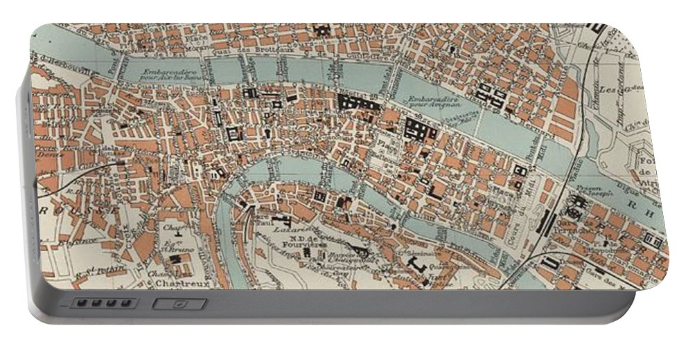 Lyon Portable Battery Charger featuring the drawing Vintage Map Of Lyon France - 1888 by CartographyAssociates