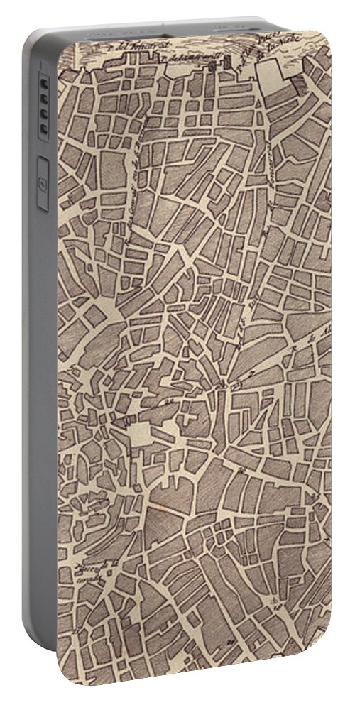 Madrid Portable Battery Charger featuring the drawing Vintage Map Of Madrid Spain - 1702 by CartographyAssociates