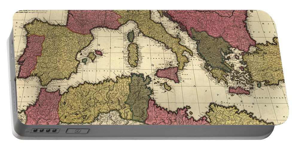 Mediterranean Portable Battery Charger featuring the drawing Vintage Map Of The Mediterranean - 1695 by CartographyAssociates