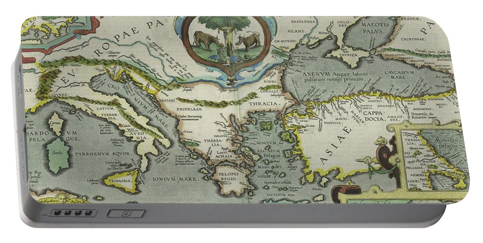 Mediterranean Portable Battery Charger featuring the drawing Vintage Map Of The Mediterranean Sea - 1608 by CartographyAssociates