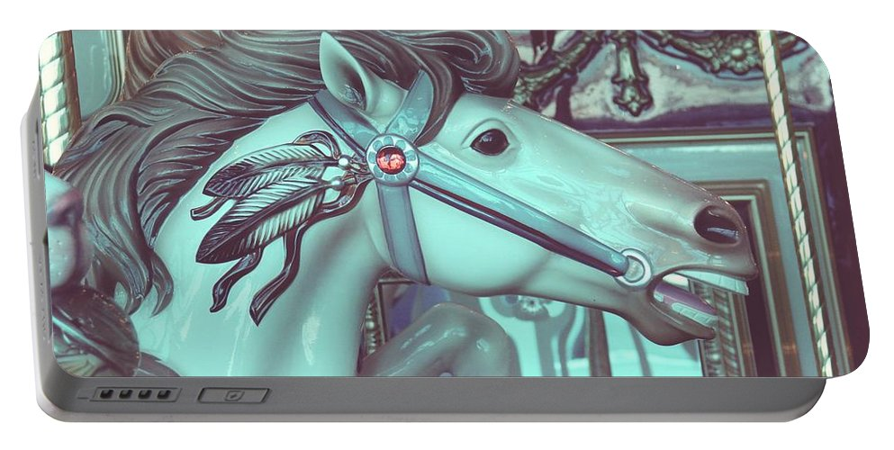 Merry-go-round Portable Battery Charger featuring the photograph Vintage Merry-go-round by Cassie Peters
