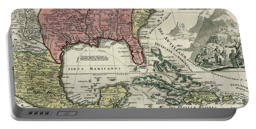 North America Portable Battery Charger featuring the drawing Vintage North America And Caribbean Map - 1720 by CartographyAssociates
