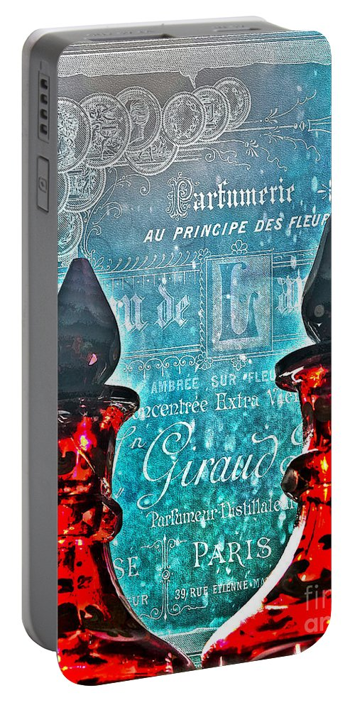 Perfume Portable Battery Charger featuring the photograph Vintage Paris Perfume by Nina Silver