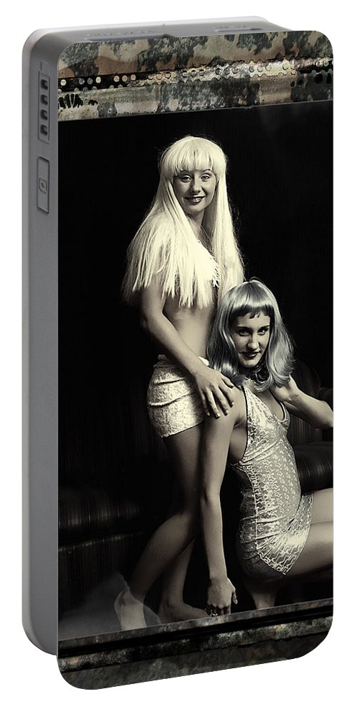 Clay Portable Battery Charger featuring the photograph Vintage Party Girls by Clayton Bruster