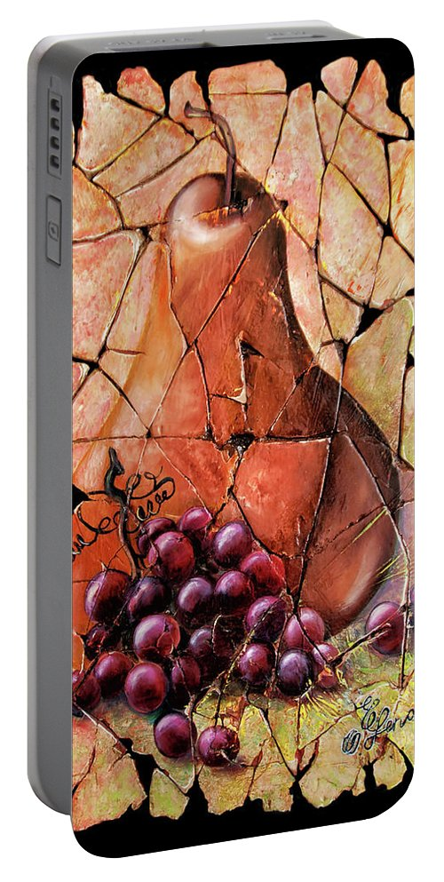 Fresco Antique Painting Grape Portable Battery Charger featuring the painting Vintage Pear And Grapes Fresco  by Lena Owens OLena Art