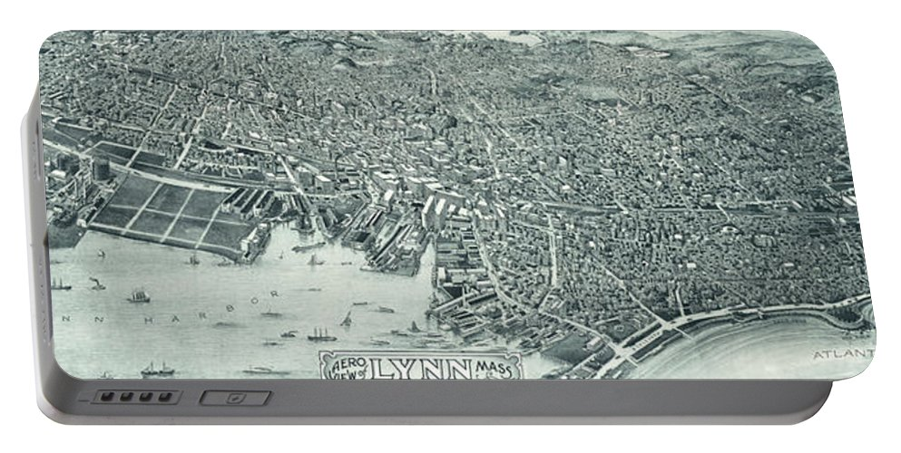 Lynn Ma Portable Battery Charger featuring the drawing Vintage Pictorial Map Of Lynn Massachusetts - 1916 by CartographyAssociates