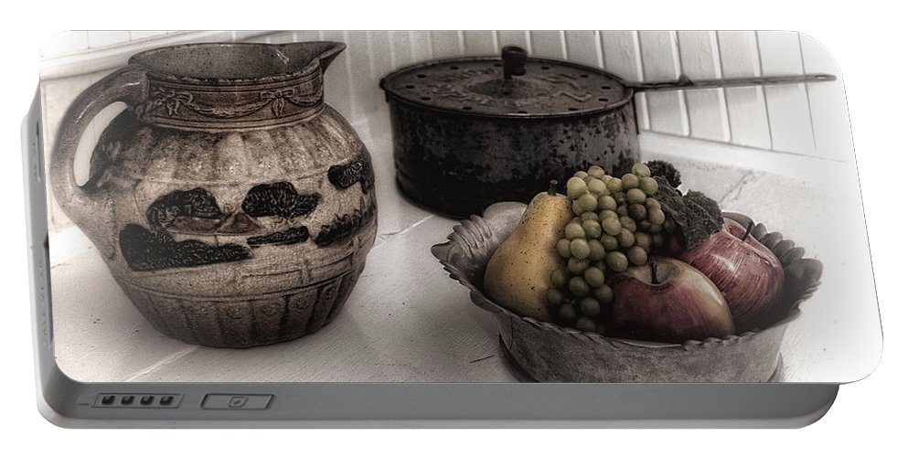 Kitchen Portable Battery Charger featuring the photograph Vintage Pitcher, Pan, And Fruit Bowl by Mitch Spence