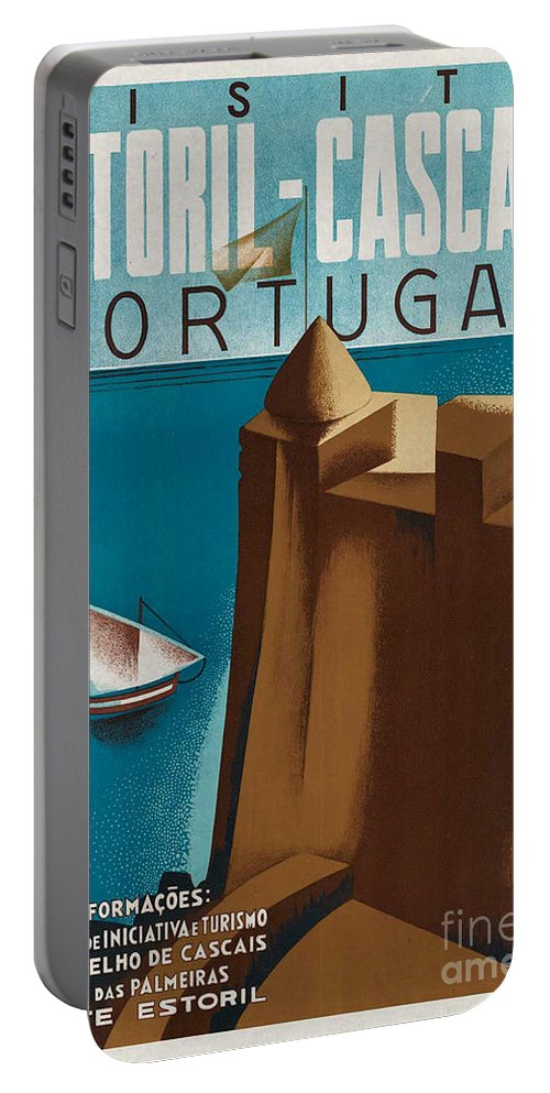 Portugal Portable Battery Charger featuring the photograph Vintage Portugal Travel Poster by George Pedro