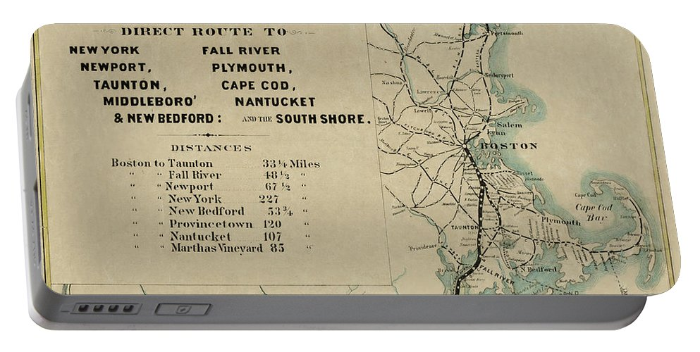 Railway Map Portable Battery Charger featuring the photograph Vintage Railway Map 1865 by Andrew Fare