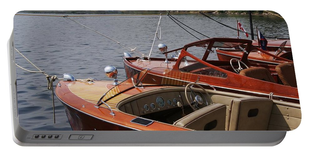 Boats Portable Battery Charger featuring the photograph Vintage Row by Neil Zimmerman