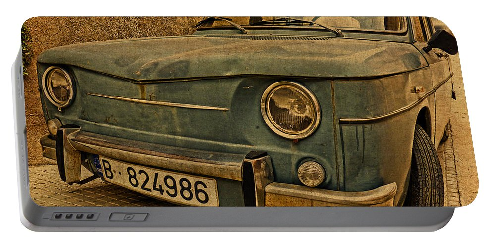 Vintage Portable Battery Charger featuring the mixed media Vintage Rusty Renault Truck by Design Turnpike