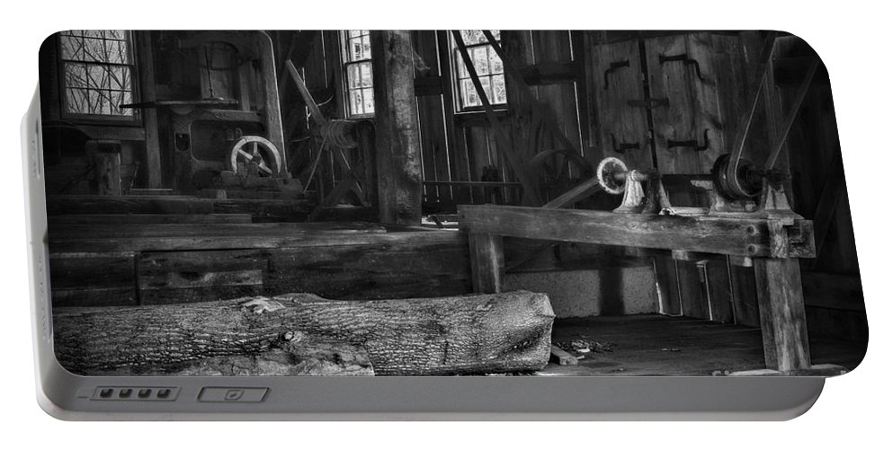 Paul Ward Portable Battery Charger featuring the photograph Vintage Sawmill In Black And White by Paul Ward