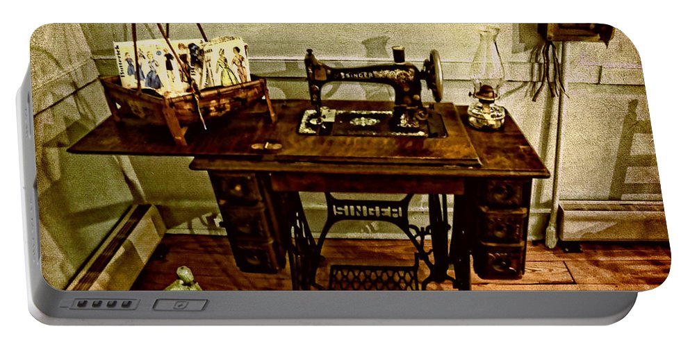 Aged Portable Battery Charger featuring the photograph Vintage Singer Sewing Machine by Judy Vincent