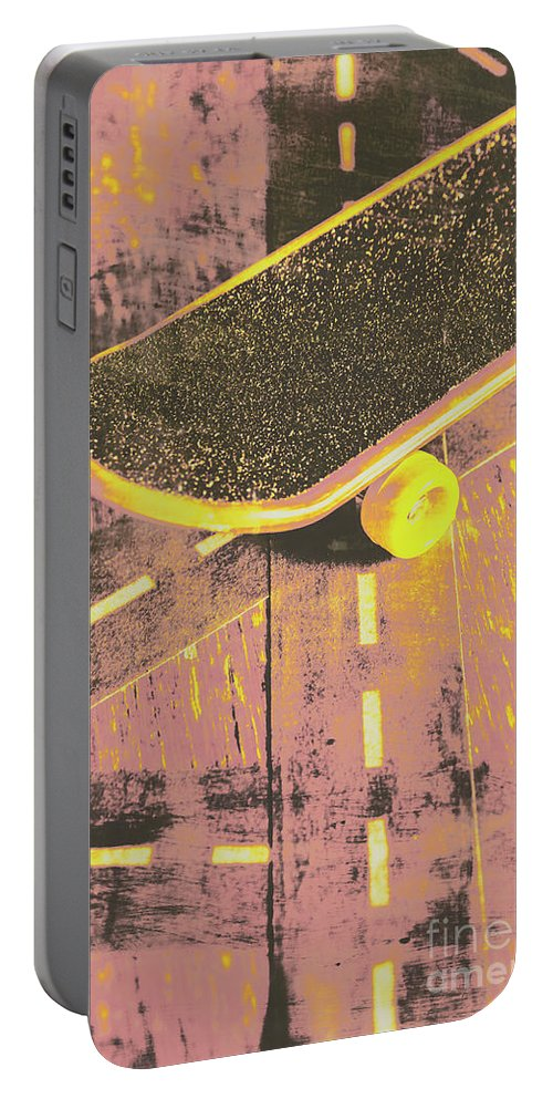 Skate Portable Battery Charger featuring the photograph Vintage Skateboard Ruling The Road by Jorgo Photography - Wall Art Gallery