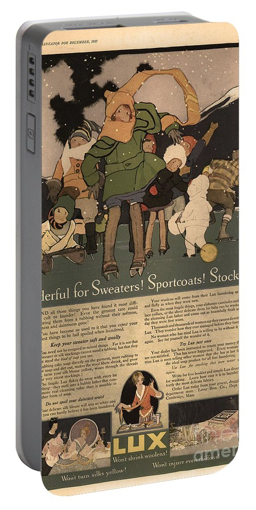 Ephemera Portable Battery Charger featuring the digital art Sweaters Sportcoats And Stockings Vintage Soap Ad 1917 Winter by Anne Kitzman