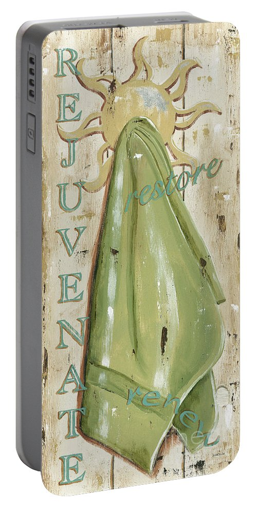 Coastal Portable Battery Charger featuring the painting Vintage Sun Beach 1 by Debbie DeWitt