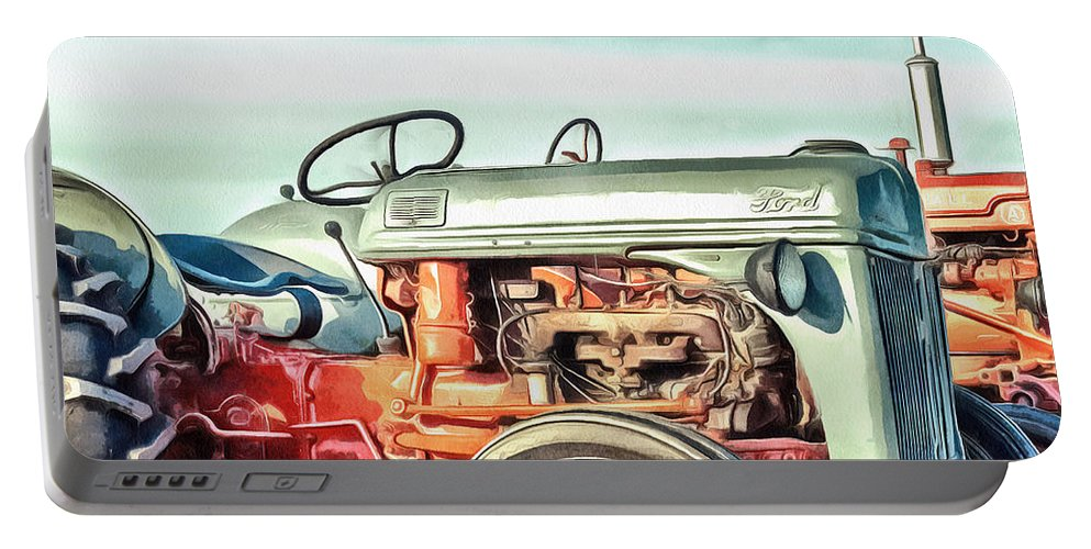 Painting Portable Battery Charger featuring the painting Vintage Tractors PEI Square by Edward Fielding