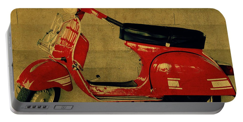 Vintage Portable Battery Charger featuring the mixed media Vintage Vespa Scooter Red by Design Turnpike