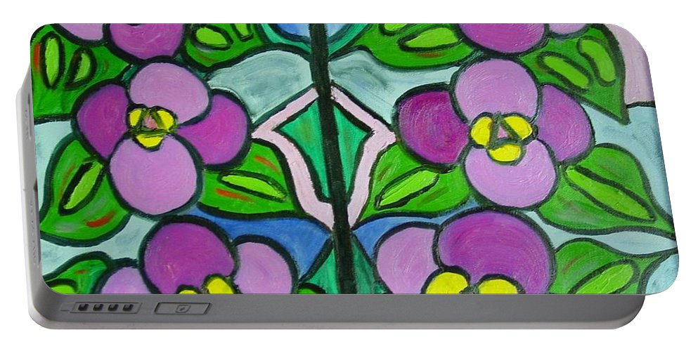 Violets Portable Battery Charger featuring the painting Vintage Violets by Laurie Morgan