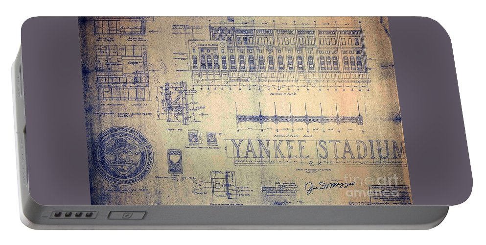 Joe Dimaggio Portable Battery Charger featuring the drawing Vintage Yankee Stadium Blueprint by Peter Ogden Gallery
