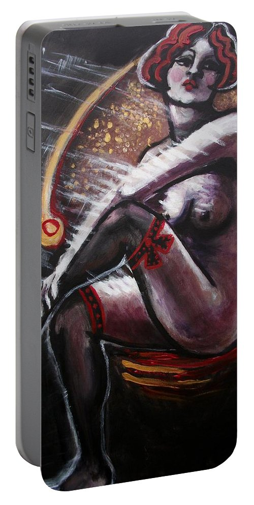 Original Portable Battery Charger featuring the painting Vintage Years - Black Stockings by Carmen Tyrrell