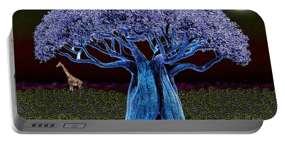 Violet Portable Battery Charger featuring the digital art Violet Blue Baobab by Iowan Stone-Flowers
