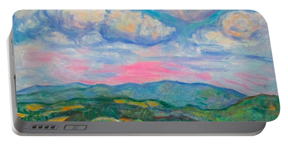 Mountains Portable Battery Charger featuring the painting Violet Evening On Rocky Knob by Kendall Kessler
