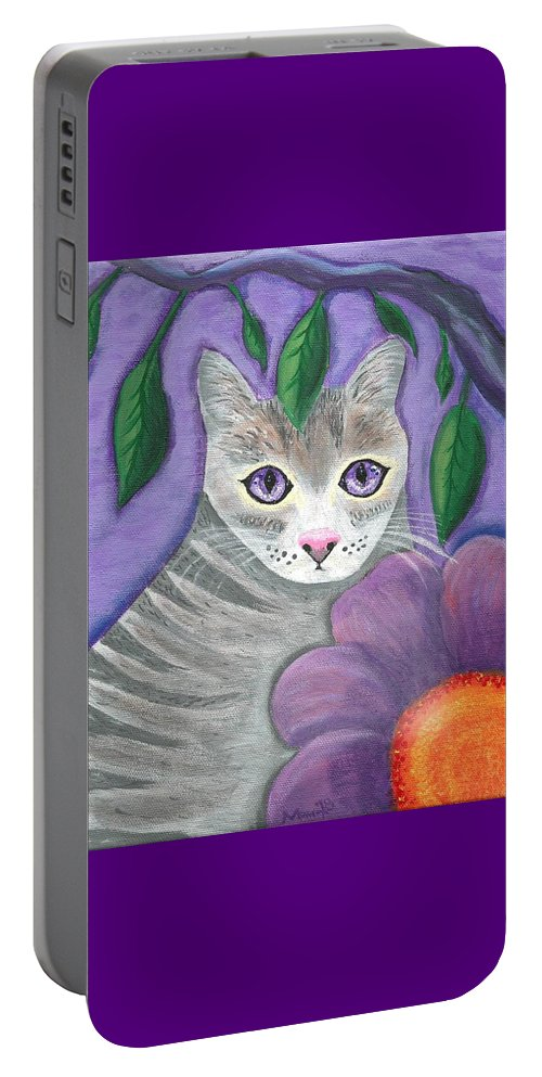 Violet Purple Lavender Eyes Kitty Cat Flower Floral Tabby Grey Portable Battery Charger featuring the painting Violet Eyed Cat by Monica Resinger