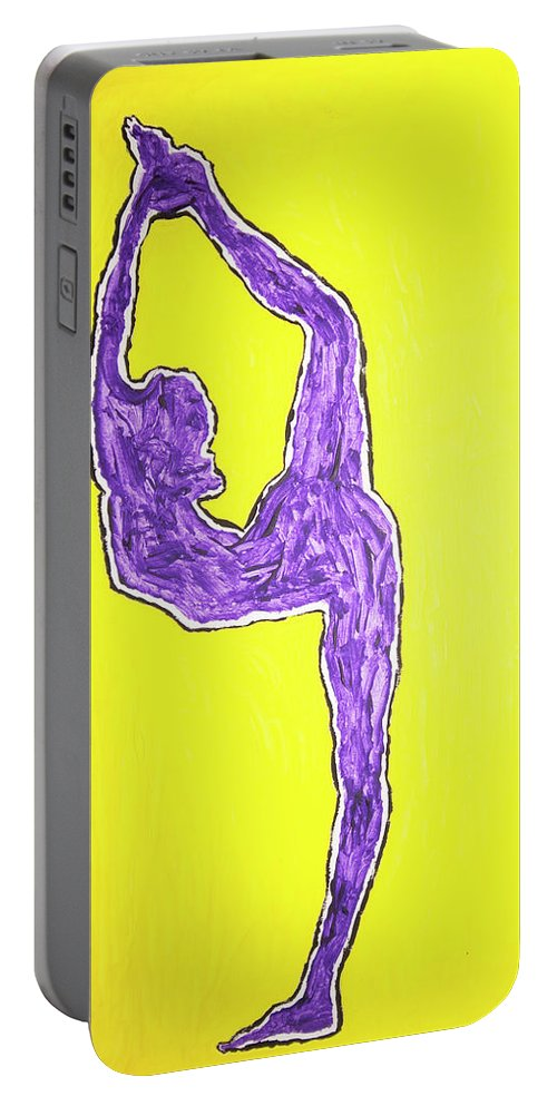 Violet Nude Yoga Girl Portable Battery Charger featuring the painting Violet Nude Yoga Girl by Stormm Bradshaw