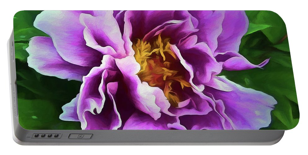 Peony Portable Battery Charger featuring the digital art Violet Peony by Ronald Bolokofsky