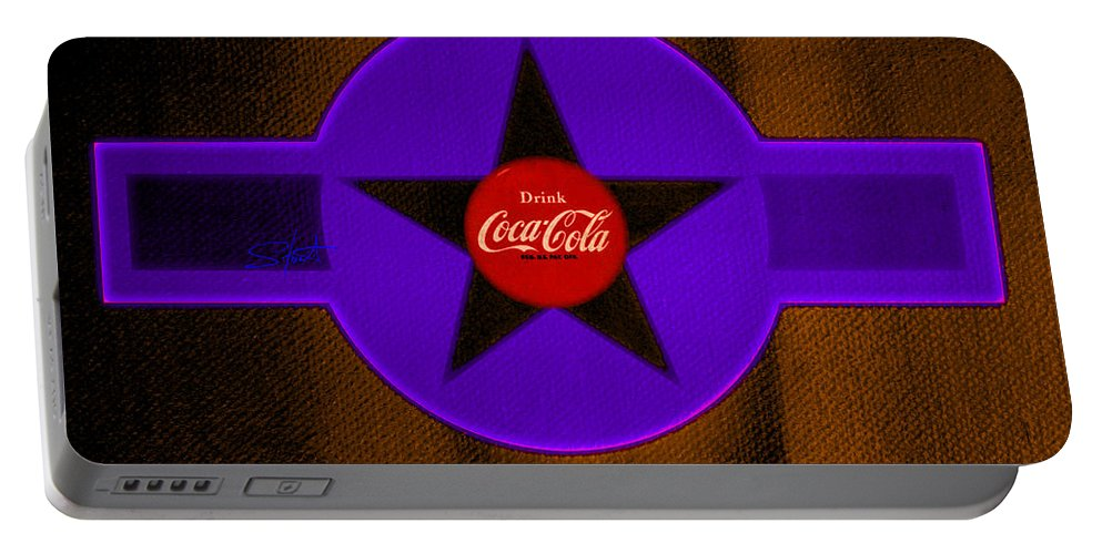 Label Portable Battery Charger featuring the painting Violet With Red And Orange by Charles Stuart