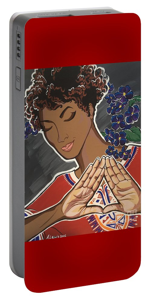 Dashiki Portable Battery Charger featuring the painting Violets And Dashiki by Alisha Lewis