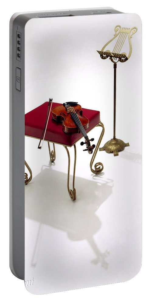 Silhouette. Violin Portable Battery Charger featuring the photograph Violin In Silhouette by Robert Ponzoni