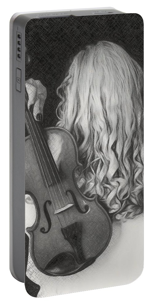 Music Portable Battery Charger featuring the painting Violin Woman - Id 16218-130643-9888 by S Lurk
