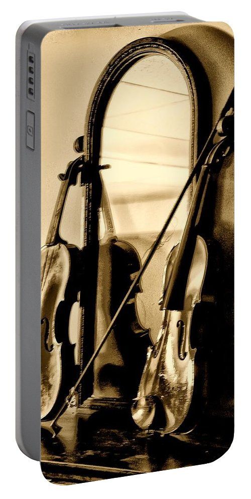 Violin Portable Battery Charger featuring the photograph Violins by Bill Cannon