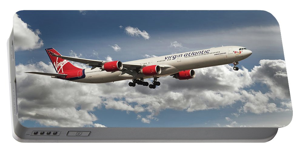 Airbus A340 Portable Battery Charger featuring the digital art Virgin Airbus A340 G-vgas by J Biggadike