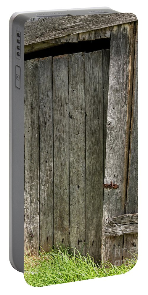 New Castle Virginia Barn Door Doors Slats Wood Slat Barns Texture Textures Odds And Ends Portable Battery Charger featuring the photograph Virginia Barn Door by Bob Phillips