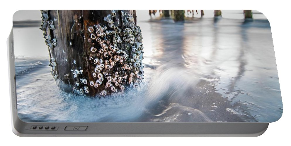 Beach Portable Battery Charger featuring the photograph Virginia Beach Pier by Larkin's Balcony Photography